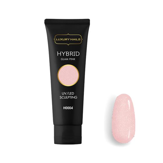 luxury nails hybrid gel glam pink